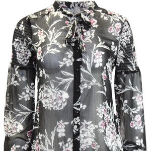 Guess Smocked Sleeve Top Magnolia Night Print Jet